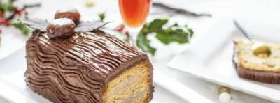 Bûche de Noël crème de marron, poire chocolat