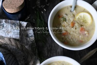 Soupe de riz et citron (avgolemono végan)