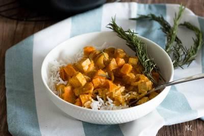 Mijoté de carottes, patates douces et tofu