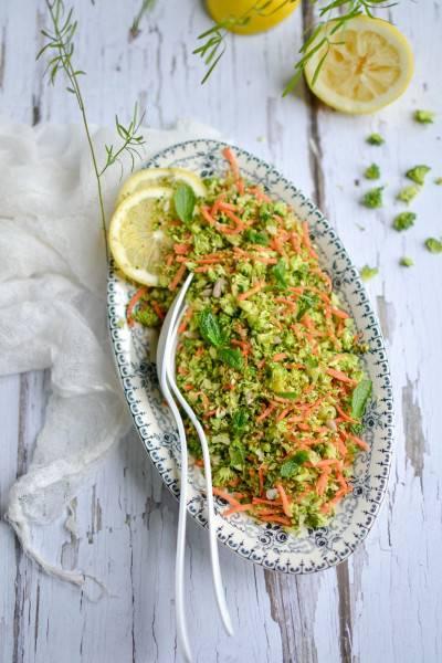 Taboulé cru de brocoli carotte menthe graines