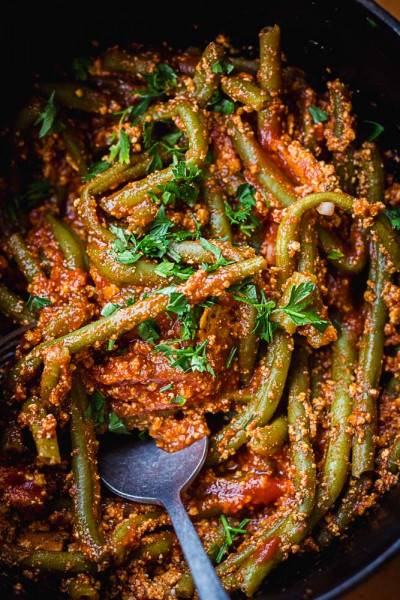 Haricots verts tomate & tofu rosso
