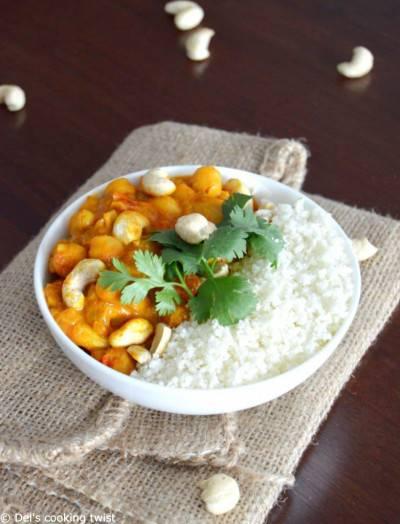 Curry de pois chiches au riz de chou-fleur