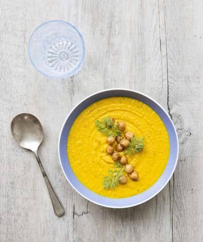 Soupe express carottes pois chiches au lait de coco