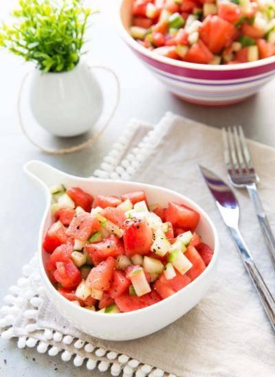 Salade pastèque concombre