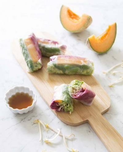 Rouleaux de printemps melon basilic courgette