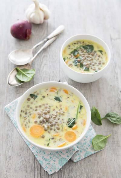 Soupe de lentilles, épinards et lait de coco