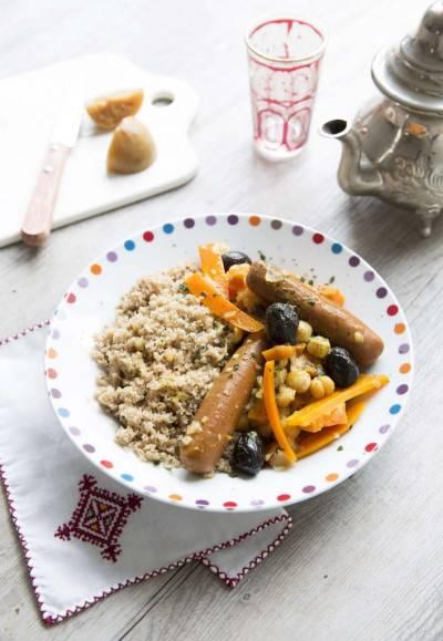 Couscous de fonio aux carottes et olives noires