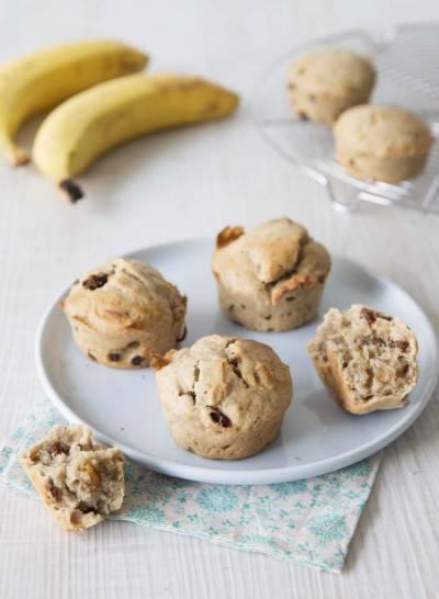 Muffins banane raisins secs
