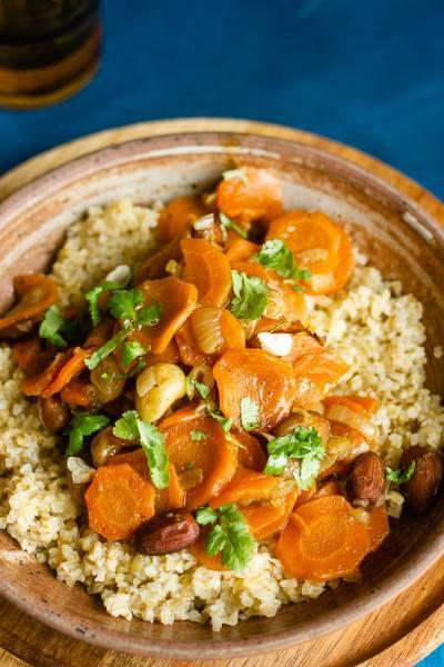 Boulgour aux carottes confites aux oignons
