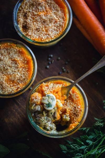 Parmentier de carottes, lentilles et champignons