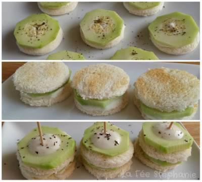 Mini-sandwichs apéritifs de concombre et tzatziki