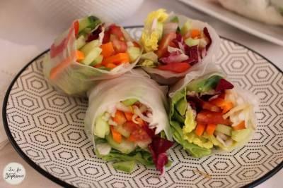 Rouleaux de printemps aux légumes, sauce aux arachides