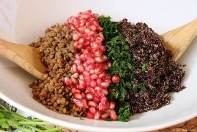 Salade de lentilles, quinoa et grenade