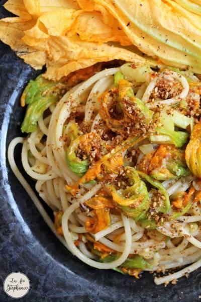 Spaghettis aux fleurs de courgette