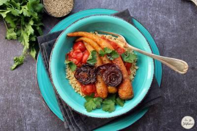 Couscous végan aux légumes rôtis