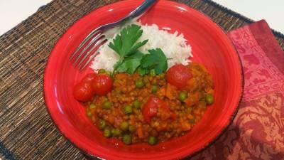 Curry de lentilles au lait de coco, riz basmati