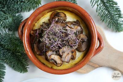 Polenta végane aux champignons