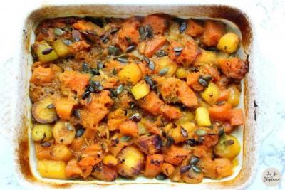 Courge et carottes violettes aux graines façon Ottolenghi