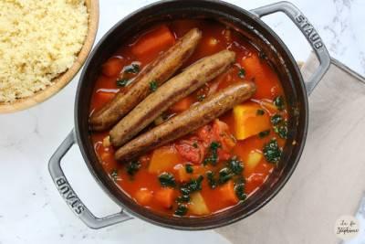 Couscous de légumes d'hiver et saucisses de seitan maison