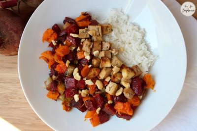 Betterave et patate douce rôties, tofu grillé