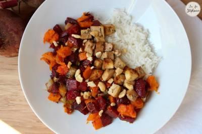 Betterave et patate douce rôties, tofu grillé