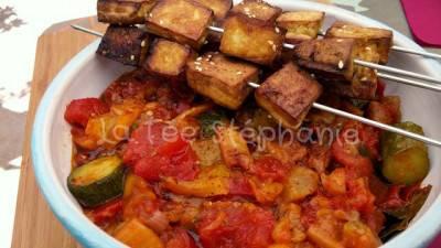 Ratatouille de la fée Stéphanie et brochettes de tofu