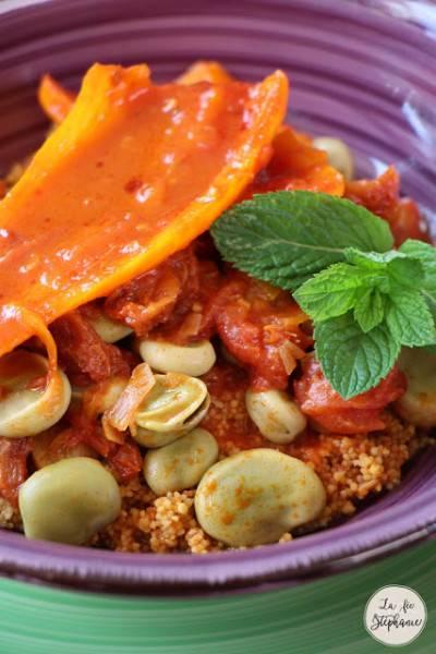 Couscous de fèves fraiches et poivrons