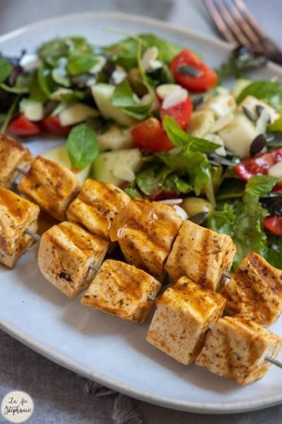 Brochettes de tofu à griller au BBQ ou à la plancha
