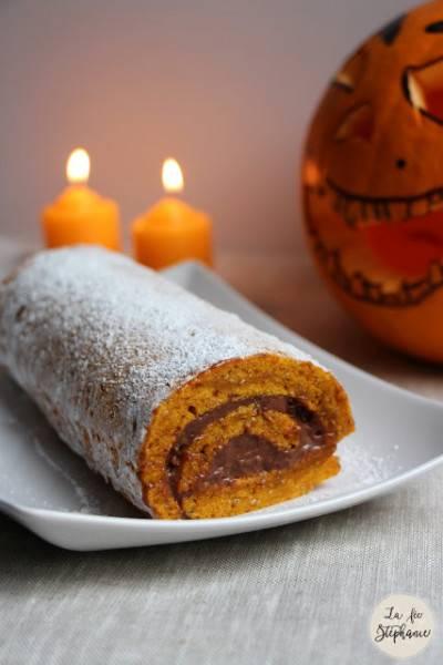 Gâteau roulé au potimarron, à la mandarine et au chocolat