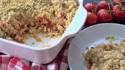 Crumble aux tomates et au basilic
