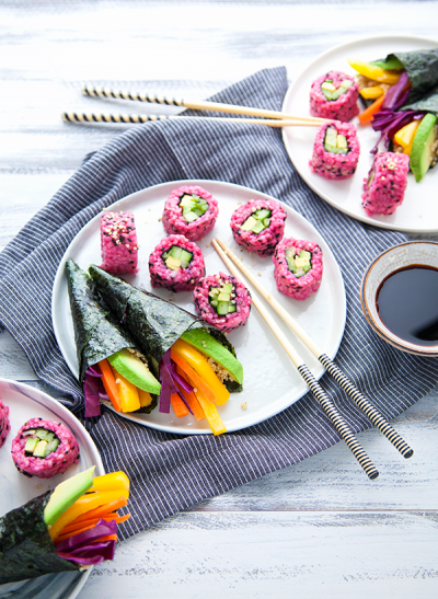 Makis roses et temaki quinoa-légumes