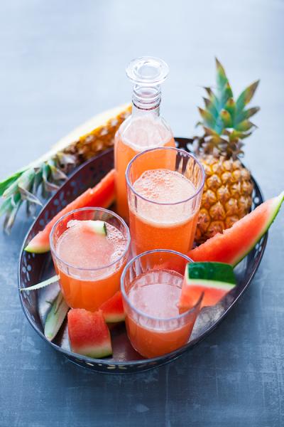 Soda maison pastèque-ananas