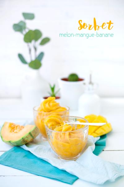 Sorbet melon-mangue-banane