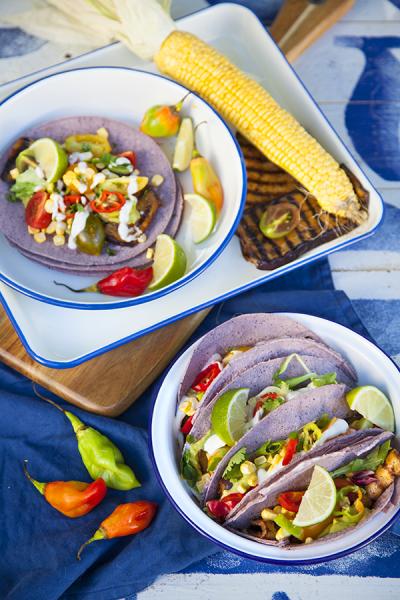 Tacos d'aubergine grillée au guacamole