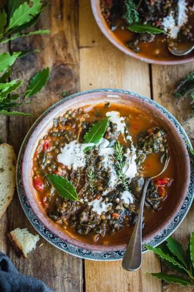 Soupe de lentilles vertes épinard-tomate