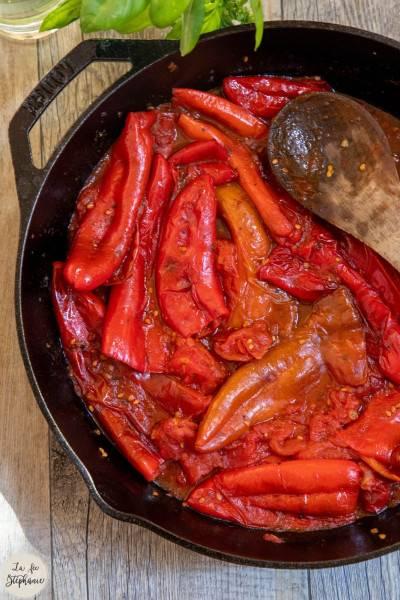 Poêlée de poivrons rouges et tomates