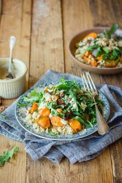 Salade de boulgour, patate douce et roquette
