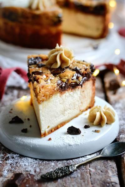 Cheesecake vanille cuit sous sa pâte à cookies