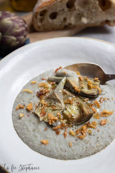 Velouté de haricots blancs à l'artichaut