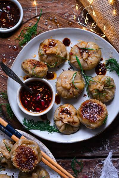Dumplings végans aux champignons