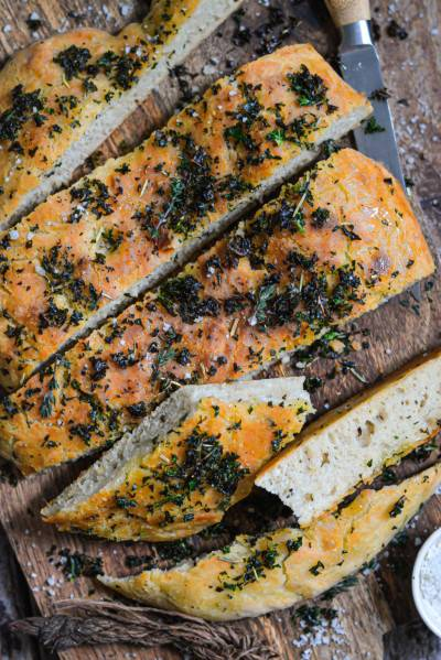 Focaccia facile au pesto de chou kale