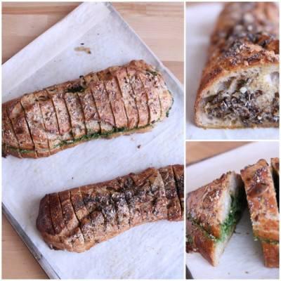 Baguette fourrée au pistou d'épinards ou aux champignons