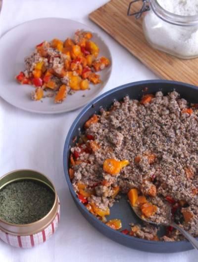 Crumble de poivrons, carottes et patate douce