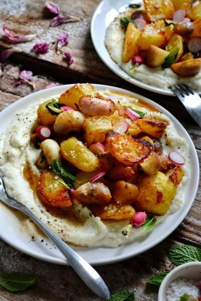 Purée de chou-fleur et patates rôties