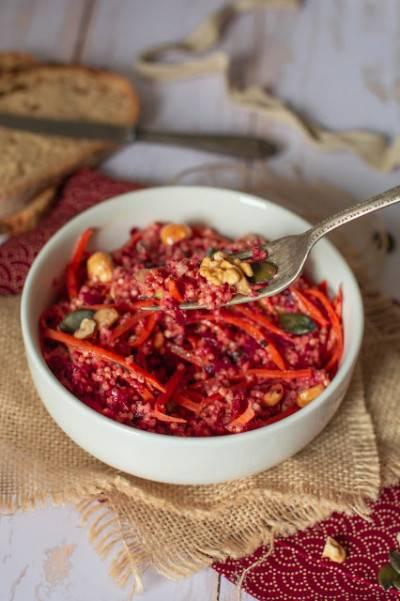 Salade de millet, carottes et betteraves crues