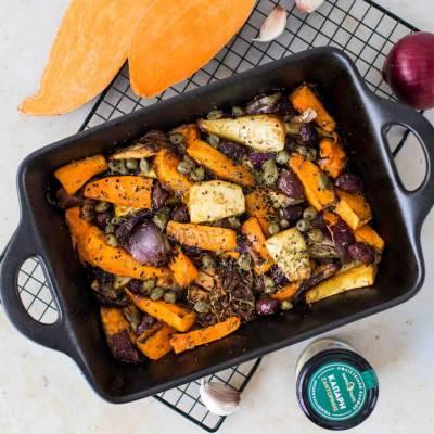 Panais et patates douces rôtis, sauce aux câpres