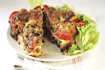 Lasagnes aubergine, tomate et pois cassés