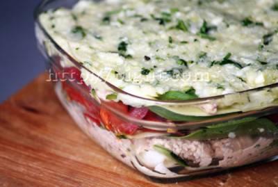 Lasagnes crues aux légumes, pesto et vromage