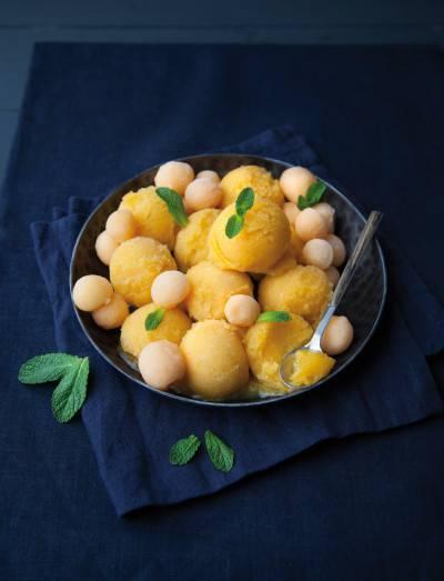 Sorbet mangue-melon et zeste de citron
