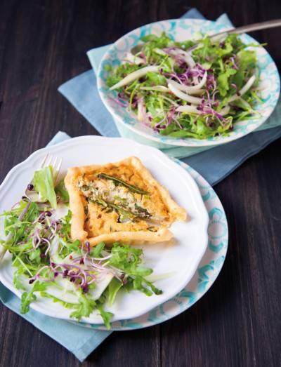 Mini quiches aux asperges et au tofu